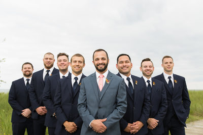 Groomsmen Looking Sharp: Blue Suits