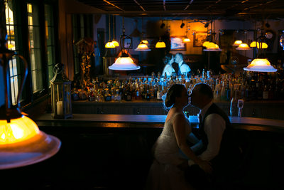 A Couple in a Bar: Wedding Portrait