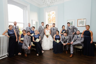 Blue And Grey Attire: Wedding Party