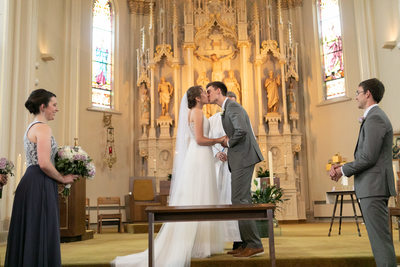 First Kiss: Burlington Wedding Photographer