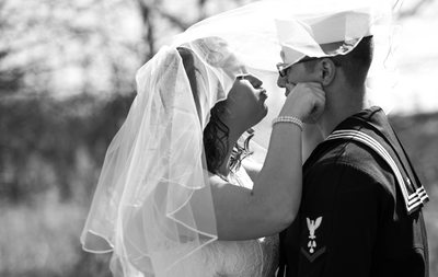 Military Wedding: Bride and Groom