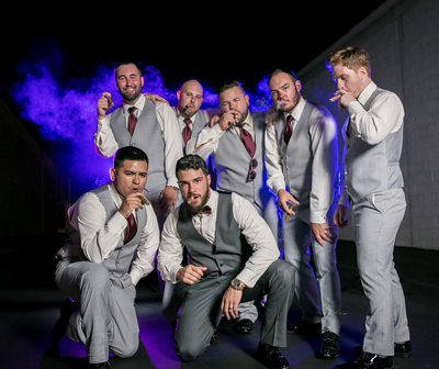 Guys and Cigars: Groomsmen Photo