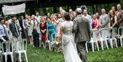 Bride and Dad: Schlitz Audubon Nature Center
