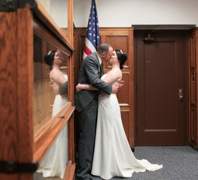 Milwaukee Courthouse Wedding: First Kiss