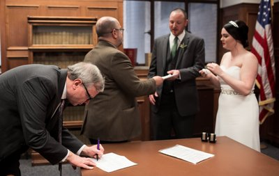 Milwaukee Courthouse Wedding: Witness Signing
