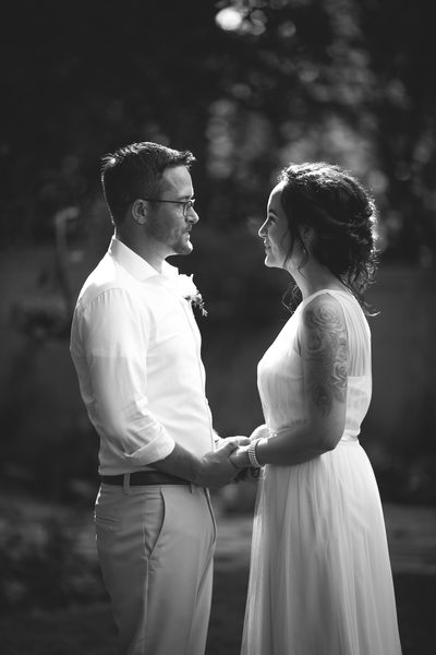 Black and White Portrait: Bride and Groom Wedding Day