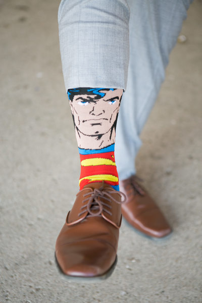 Superman Socks: Grooms Fun Attire