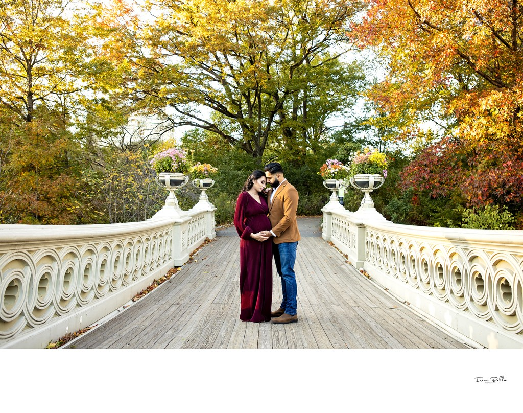 Central Park Maternity Photo at Bow Bridge