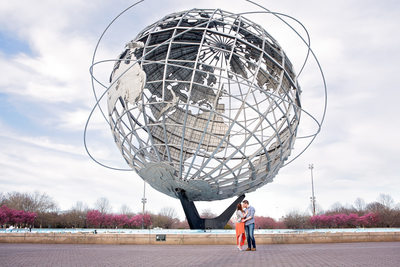 Flushing Meadows Park Engagement Photo