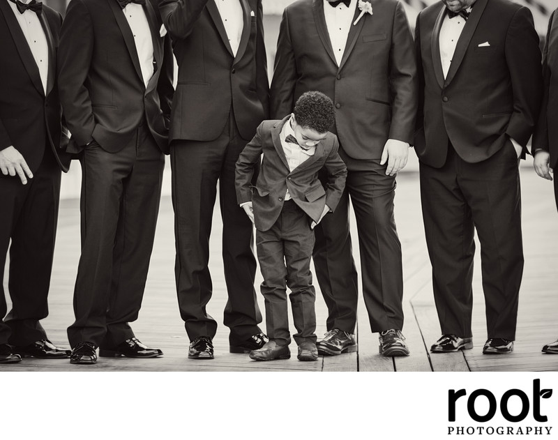 Groomsmen and Ring Bearer on the Boardwalk