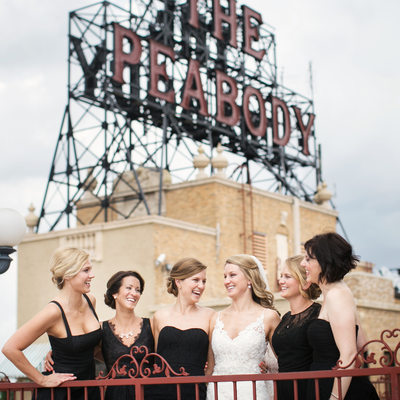 Bridesmaids on Peabody Memphis Rooftop