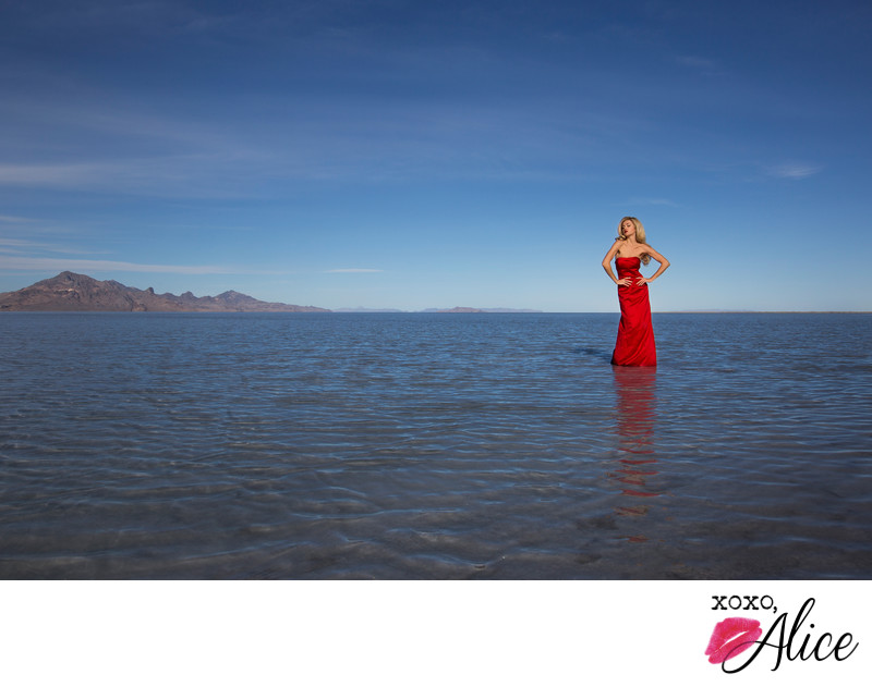 salt flats utah fashion portraits blond model red dress