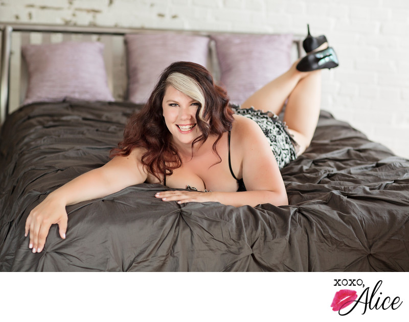 Boudoir Photograph in St Louis Missouri happy smile
