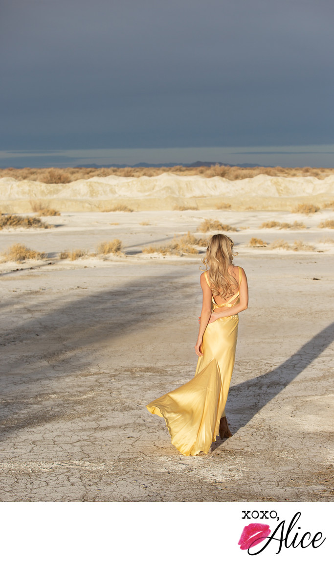 yellow silk dress in the desert boudoir fashion photos