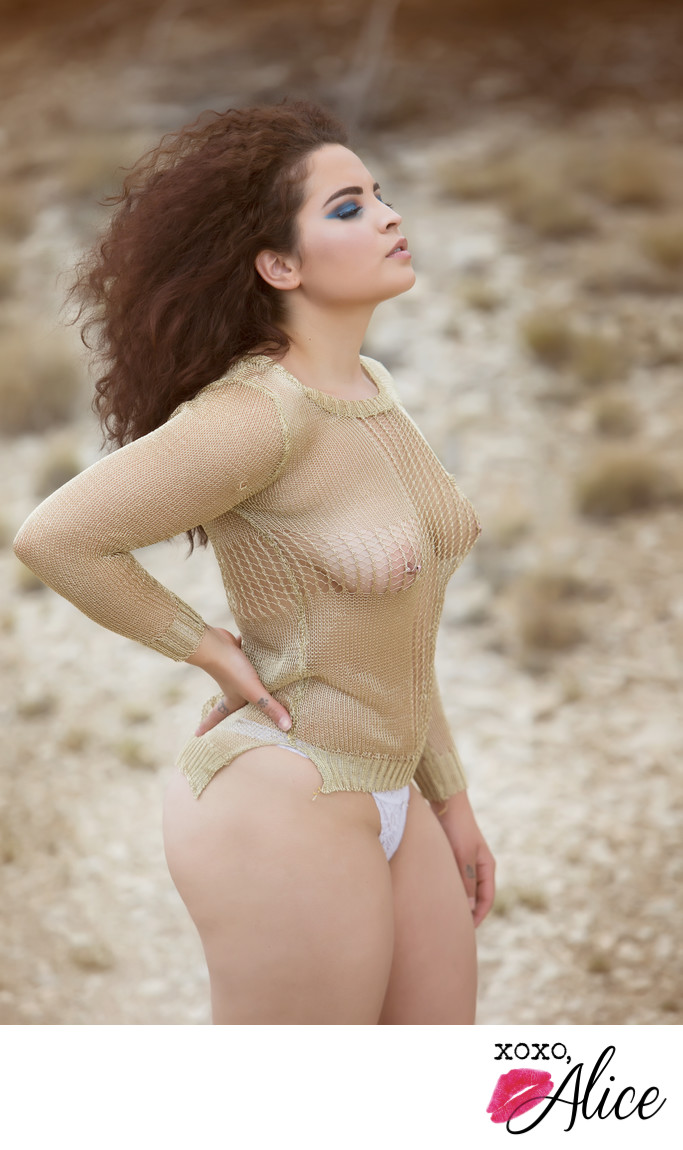 desert goddess gold chainmail and topless desert