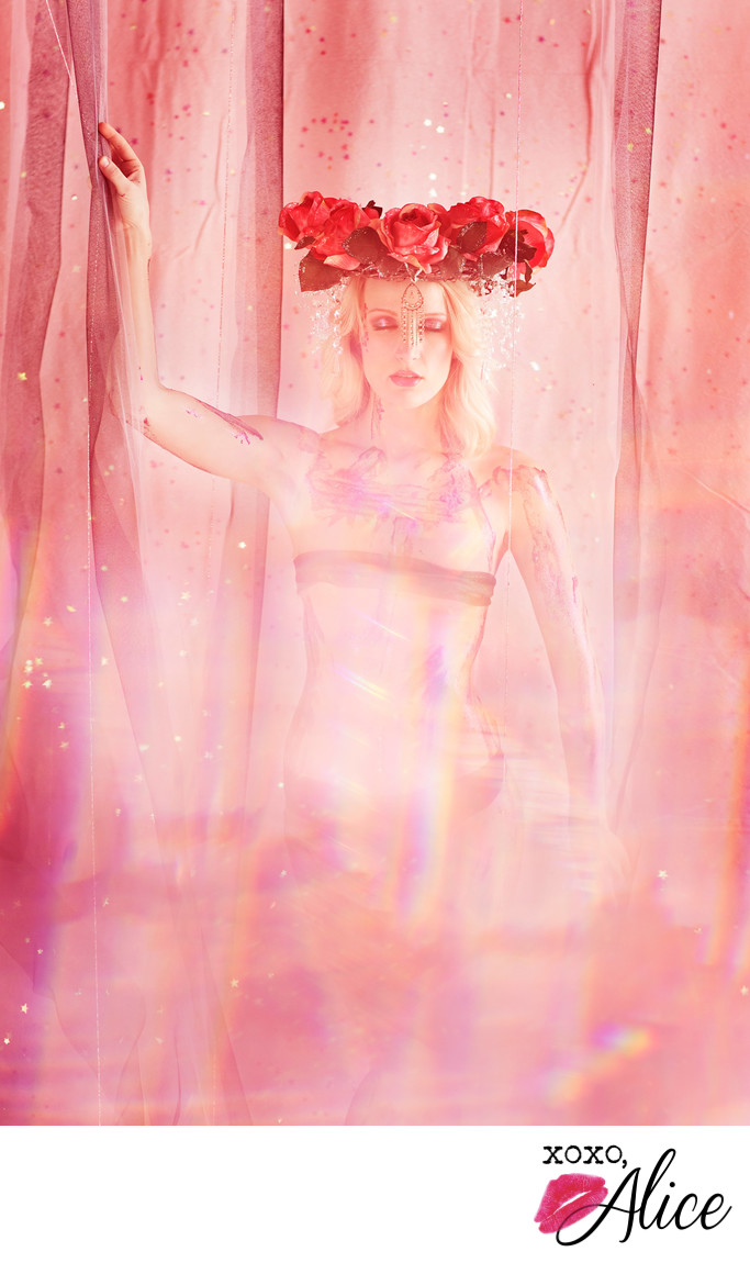 gorgeous fantasy boudoir photographs floral headpiece