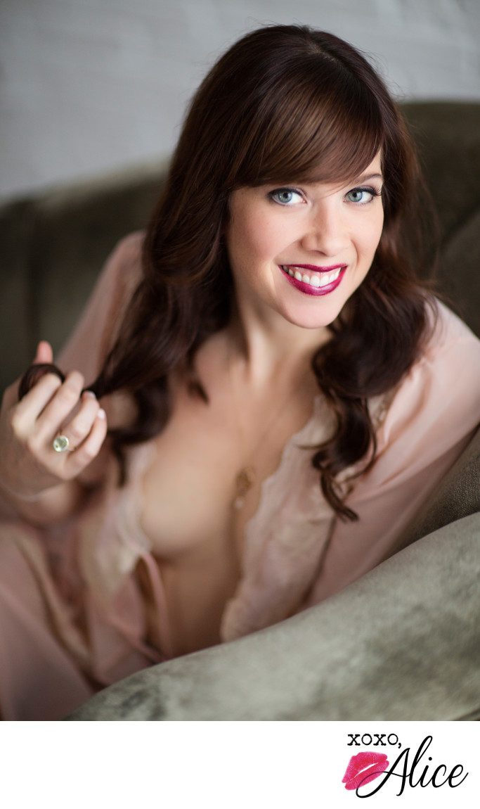 Boudoir Photograph in St Louis Missouri blue eyes engaged