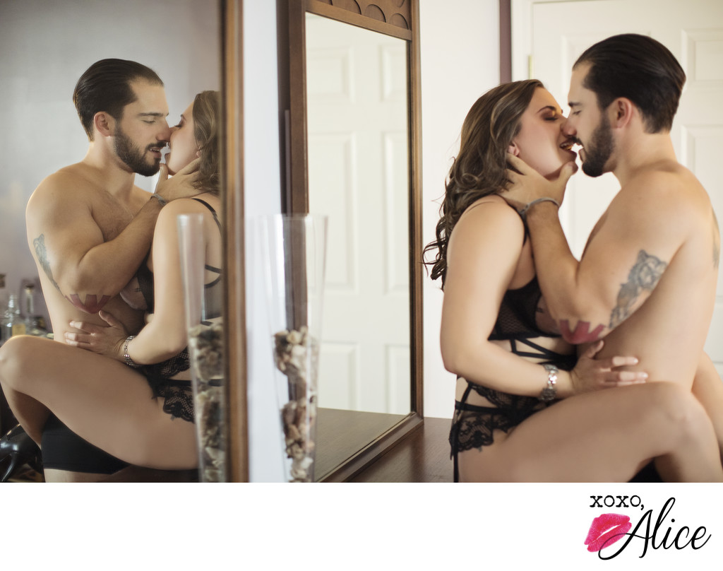 sexy couple photos with artistic flair and reflections