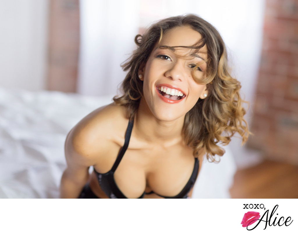 Boudoir photoshoot near me with class and smiles