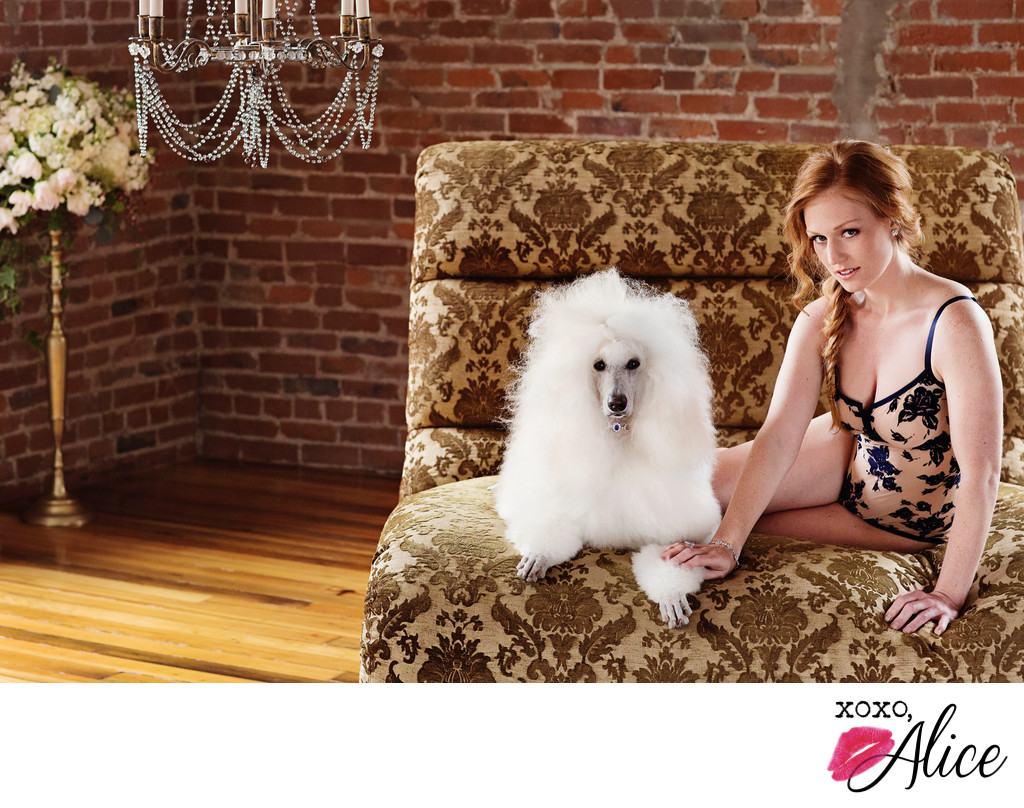 glamour studio boudoir photography Illinois with poodle