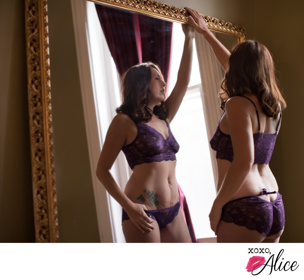 Fun refections in boudoir photos by XOXO Alice