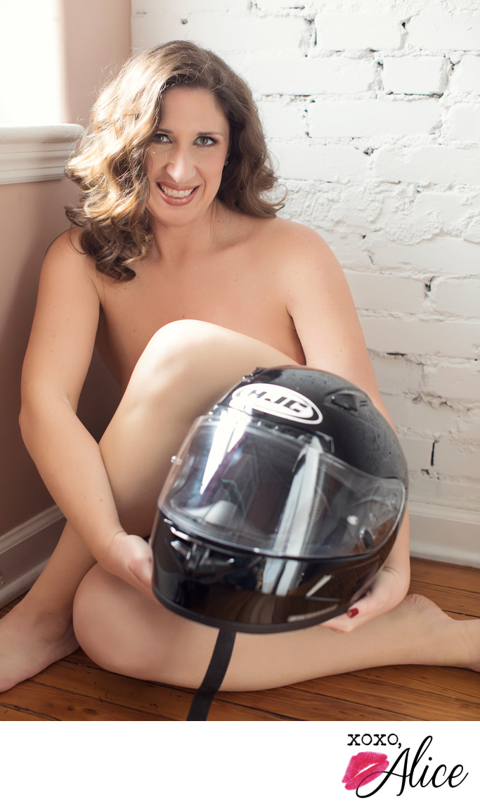 sexy theme boudoir with props helmet in missouri