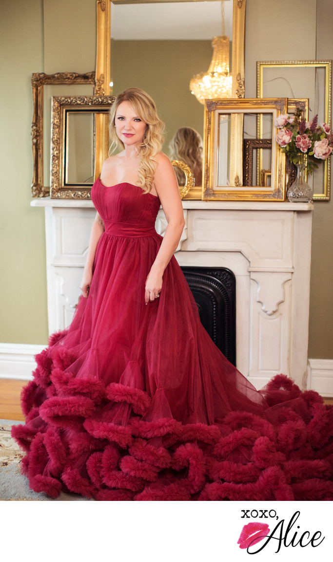 glamorous red dress tulle fireplace gold frame studio