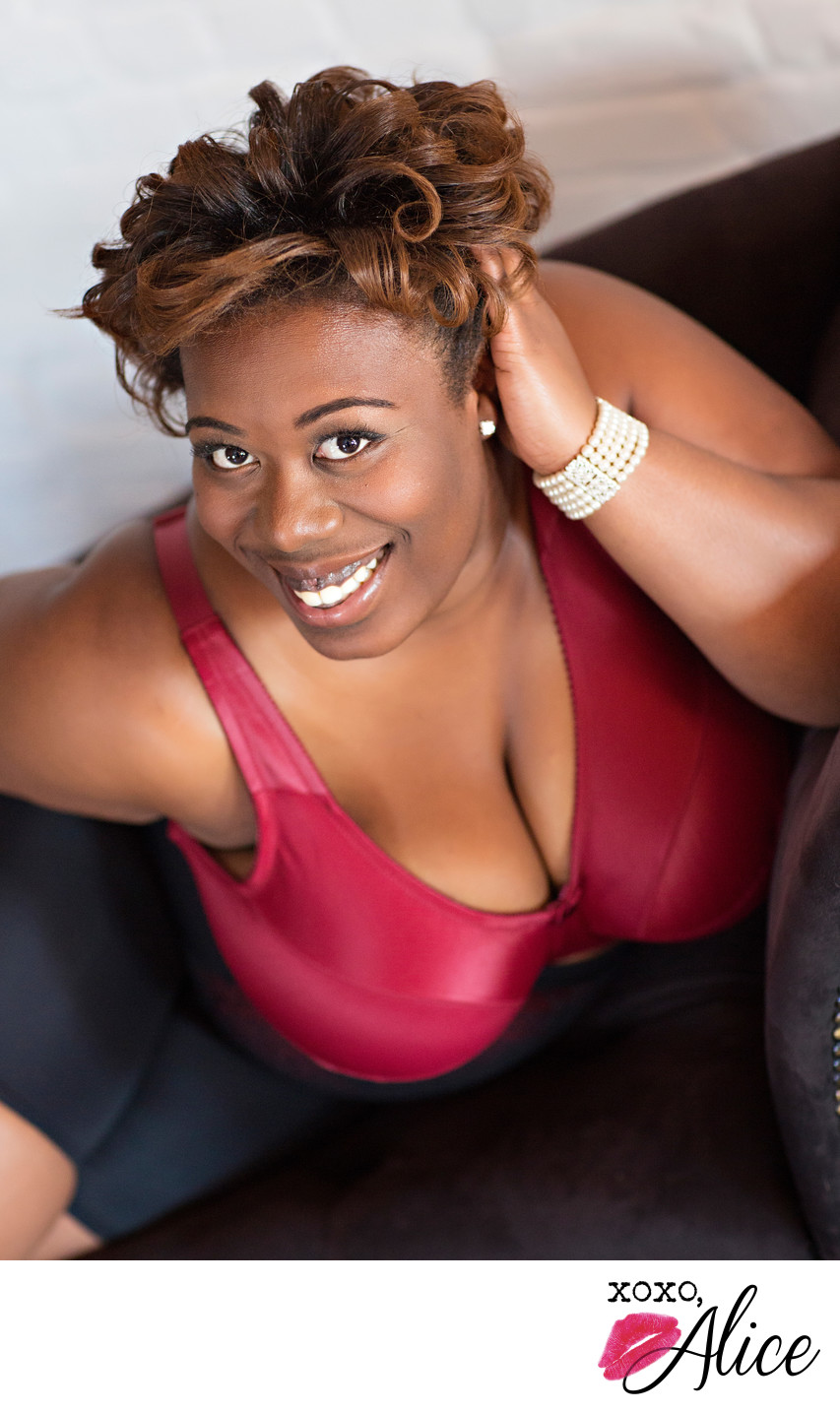 confident empowered sexy black woman red bra happy
