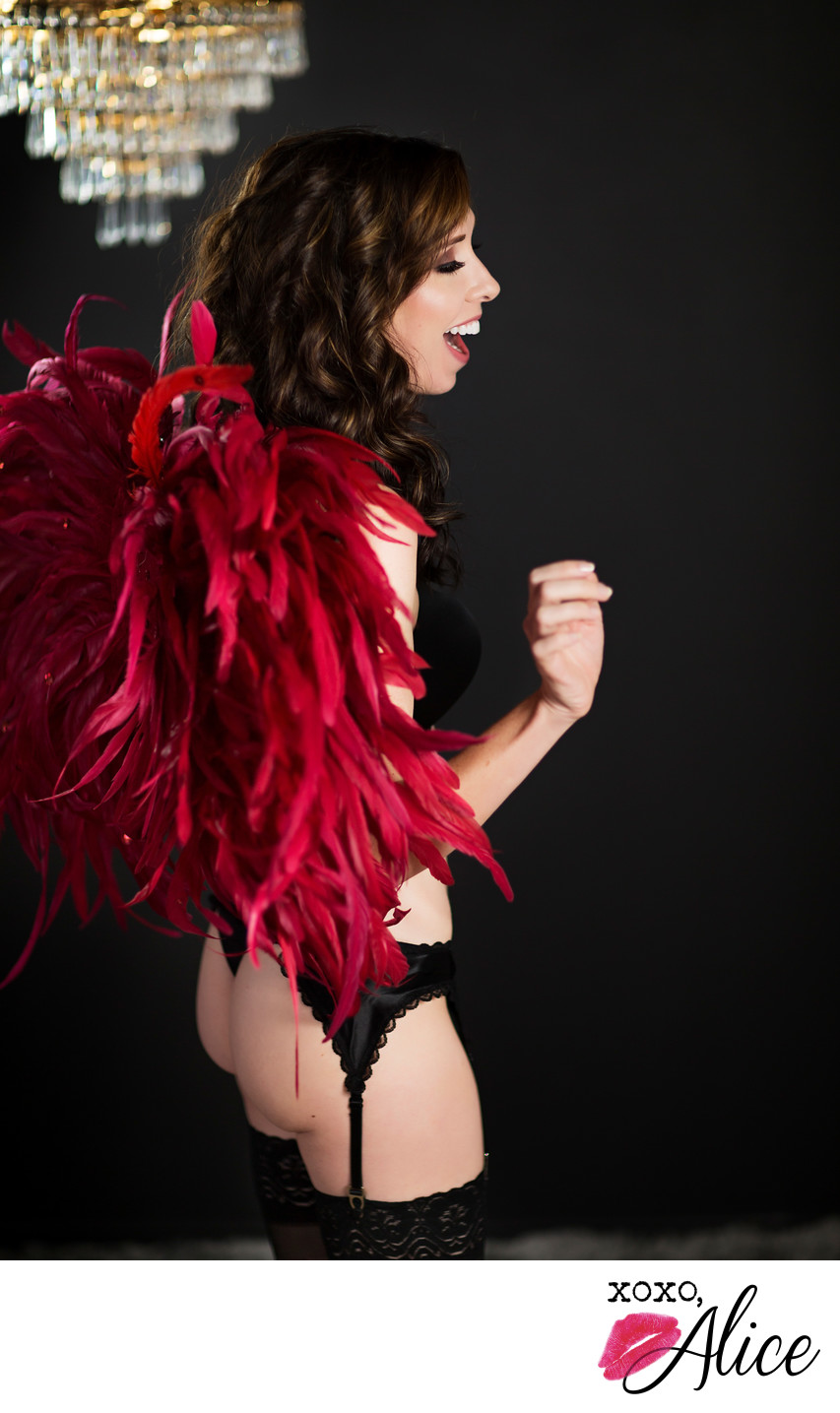 red victoria secret feather wings confident boudoir joy
