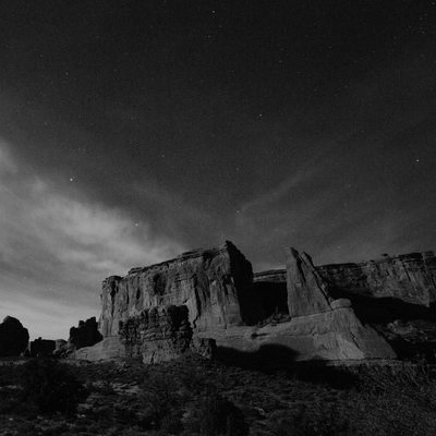 ARches National Park black and white at night supermoon