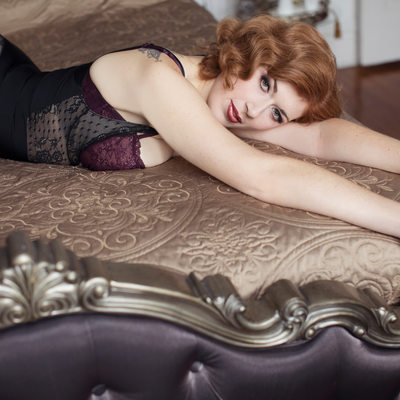 sexy redhead in luxury boudoir studio st charles county