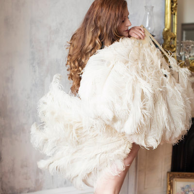 Authentic burlesque ostrich feather fan for photographs