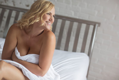 Boudoir Photography Women over 40 in the sheets sexy