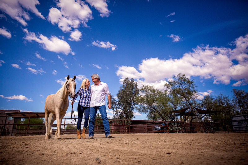 Horse riding engagement photos in Scottsdale