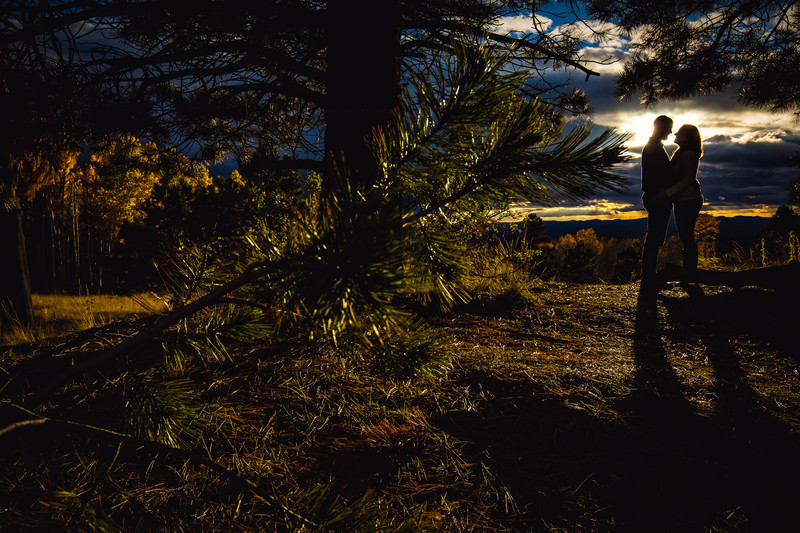 Romantic Sunset Engagement Photo in Flagstaff Arizona