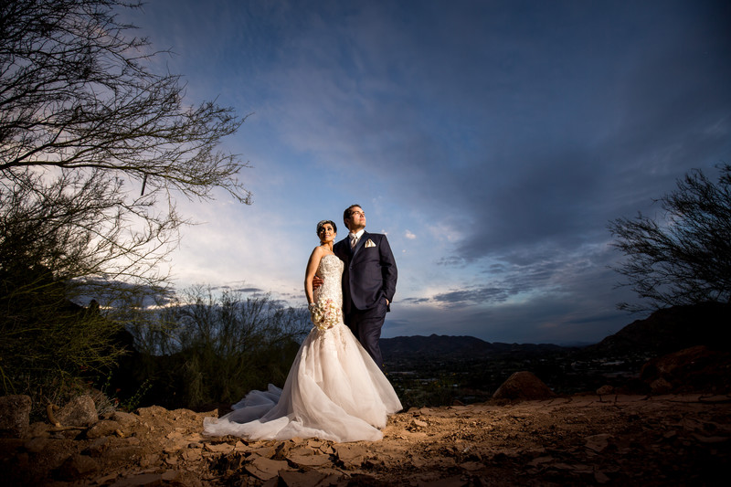 dramatic wedding photos in Scottsdale at the Sanctuary