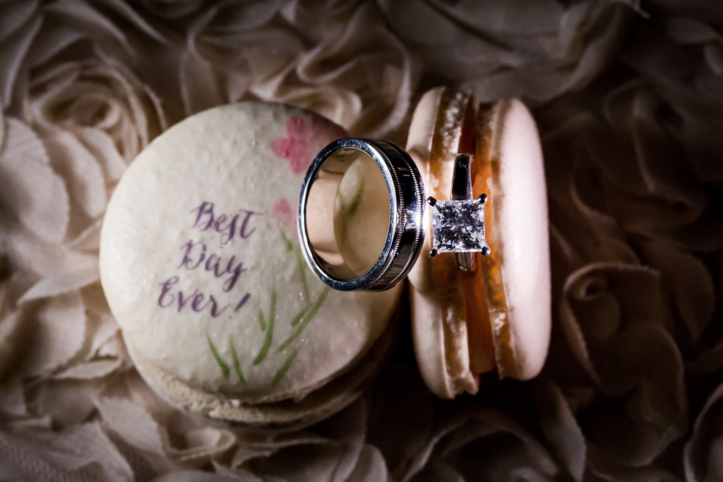 wedding ring in macaron