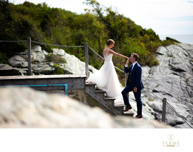 Wedding at Castle Hill Inn lighthouse in Newport