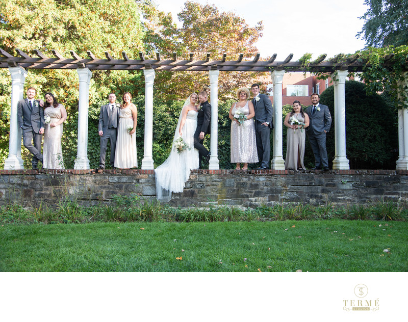 Wedding Party photo at the Higgins House at WPI