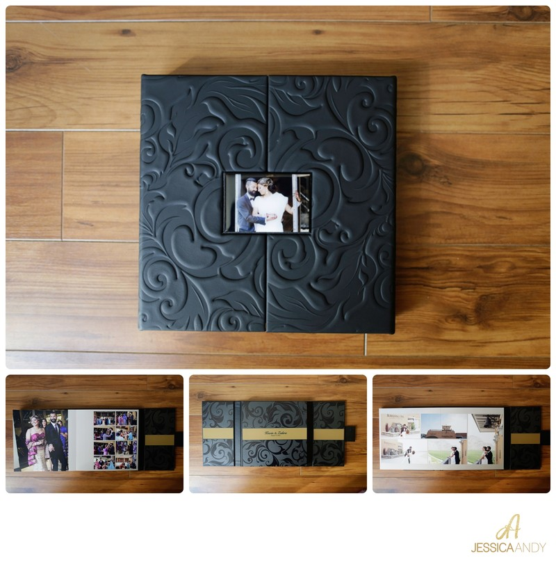 embossed black wedding album handcrafted custom design