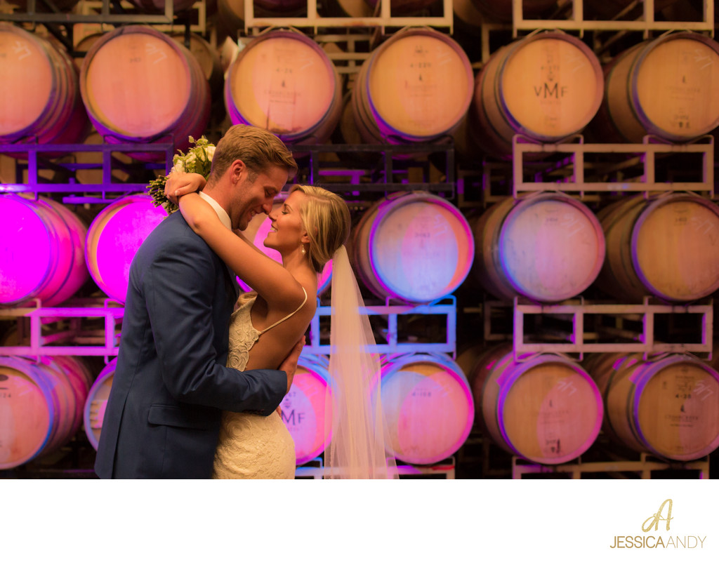 Wine cellar wedding photo