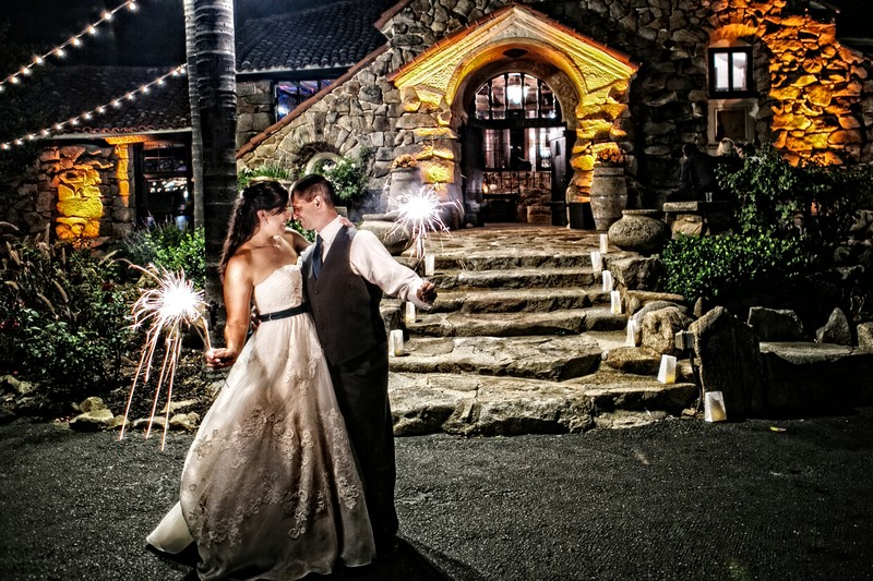 Sparkler Photo at Mt Woodson Wedding