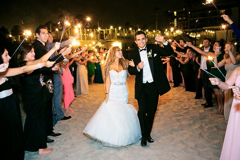 Bride and Groom with Sparklers Hotel Del Coronado