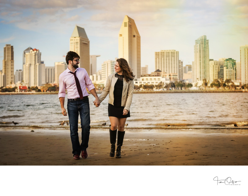 Coronado island San Diego Skyline Engagement Photo