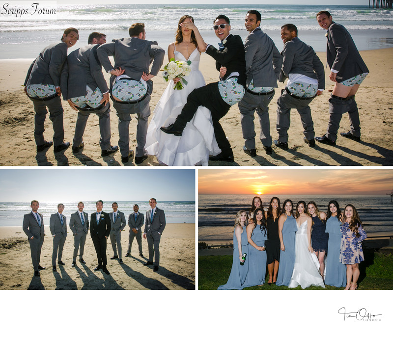 scripps seaside forum bridal party photos candids