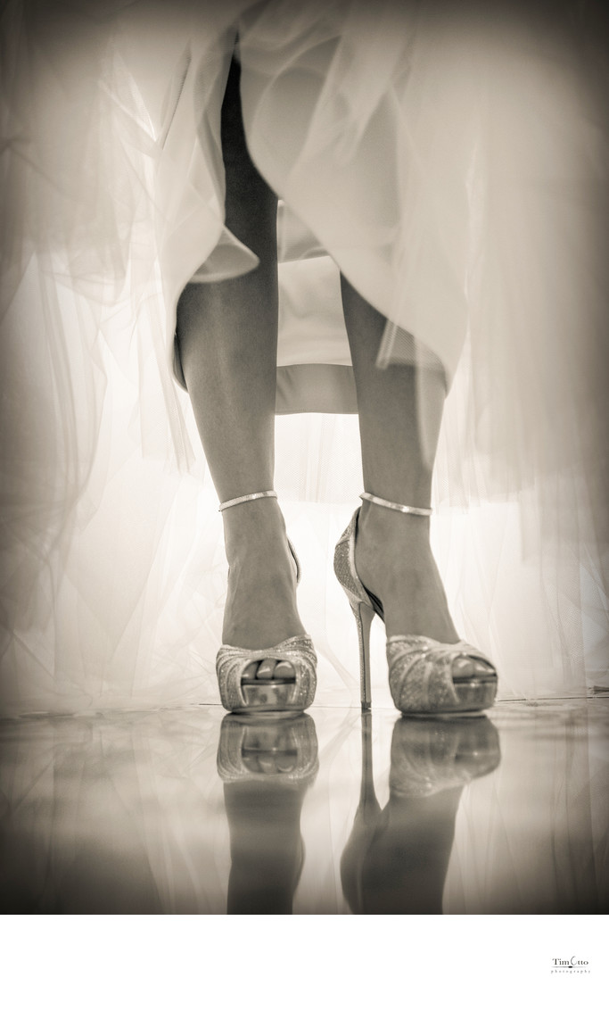 Detail of Brides Shoes with reflection