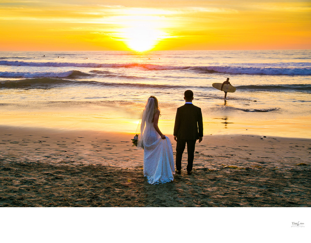 Sunset Bride and Groom at Del Mar Beach