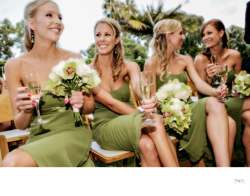 Brides maids toast after ceremony Bahia hot