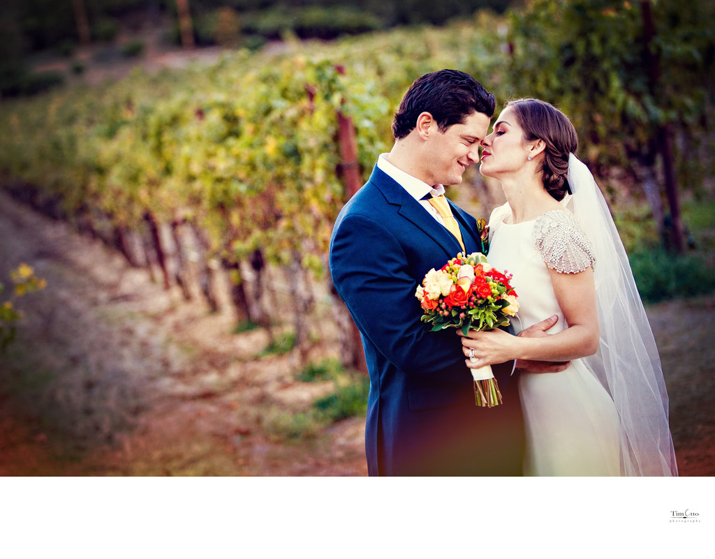 Bride and Groom at Brutocao Vineyards