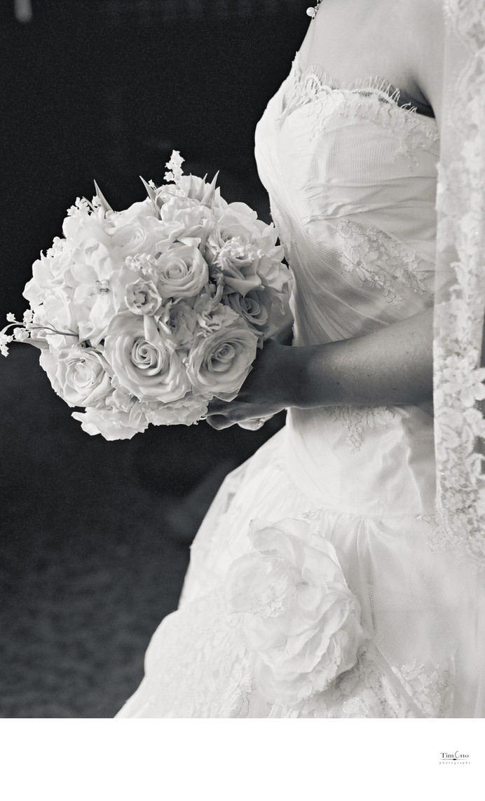 Detail Photo of Brides Bouquete and Dress